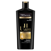 A 22oz bottle of TRESemmé Ultimate Hydration Shampoo front of pack image
