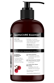 Back of shampoo ApotheCARE Essentials™ The Booster Shampoo Rosehip Oil Geranium Aloe Vera 12oz