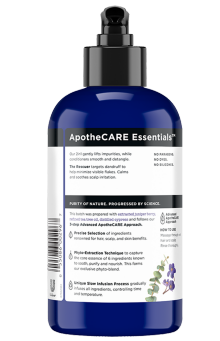 Back of shampoo ApotheCARE Essentials™ The Rescuer 2-in1 Shampoo and Conditioner Eucalyptus 12oz