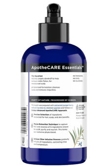 Back of shampoo ApotheCARE Essentials™ The Equalizer Anti-Dandruff Shampoo Juniper Berry 12oz