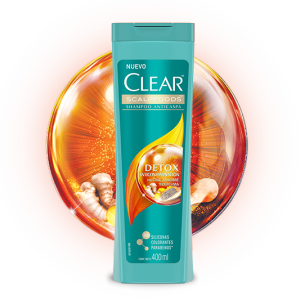 Front of shampoo pack Clear Shampoo Detox Anticontaminación 200ml
