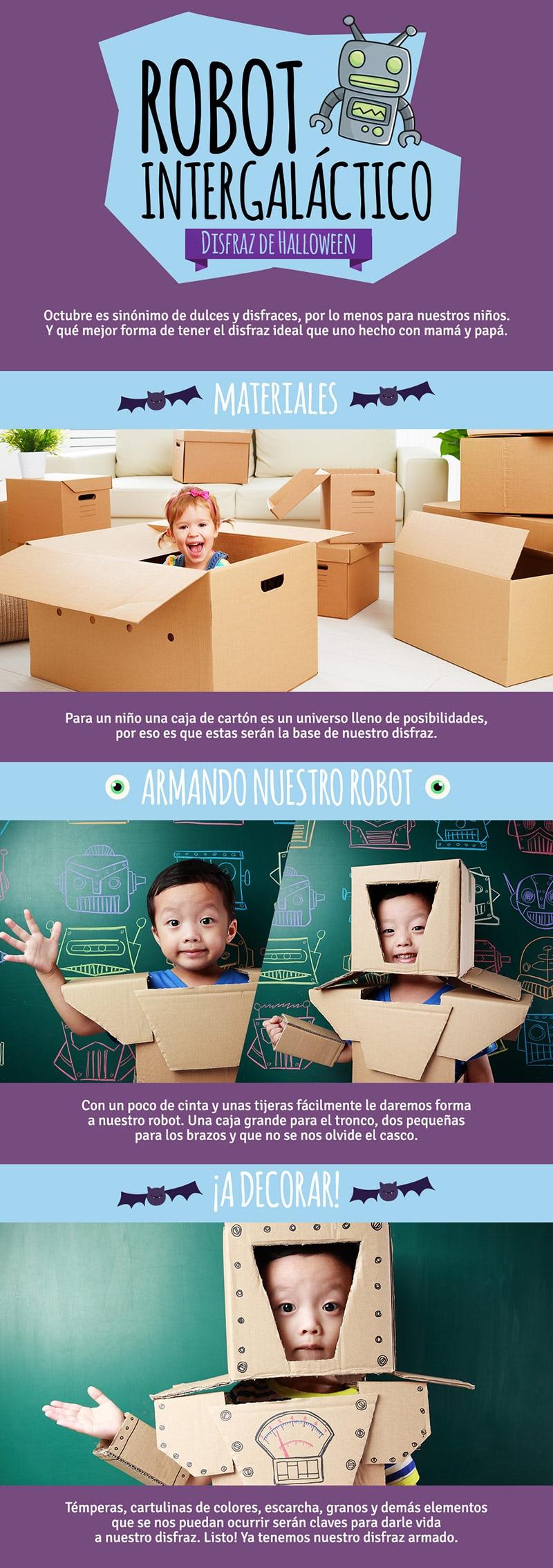 Banner explica como hacer un robot con caja de carton