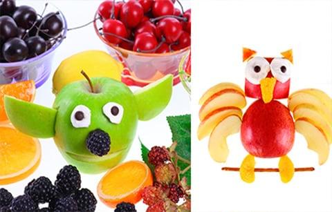 Animales con diferentes tipos de frutas