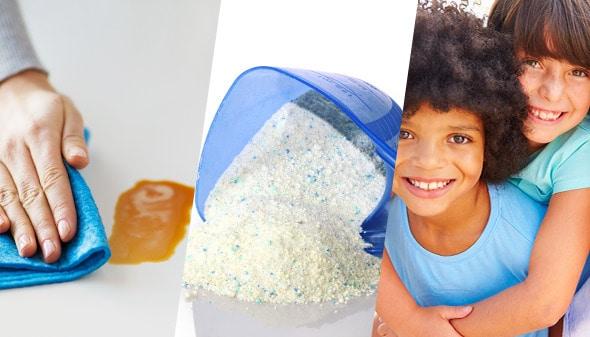 Mano limpia mancha con limpion, detergente en polvo y niños