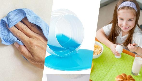 Una mano sobre un limpion, detergente regado y una niña