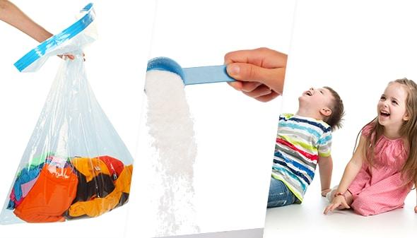 Imagen con bolsa de ropa, detergente y niños