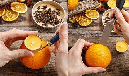 Ejemplo de como abrir un hueco a una naranja para colocar una pequeña vela