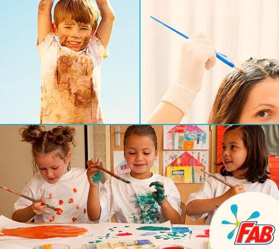 Niños se ensucian con pintura y tierra