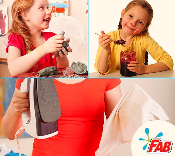 Niña juega con plastilina, niña se ensucia con comida y mujer plancha