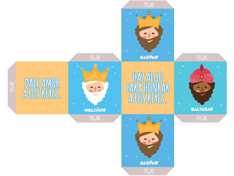Figura para recortar con la cara y nombre de los cuatro reyes magos