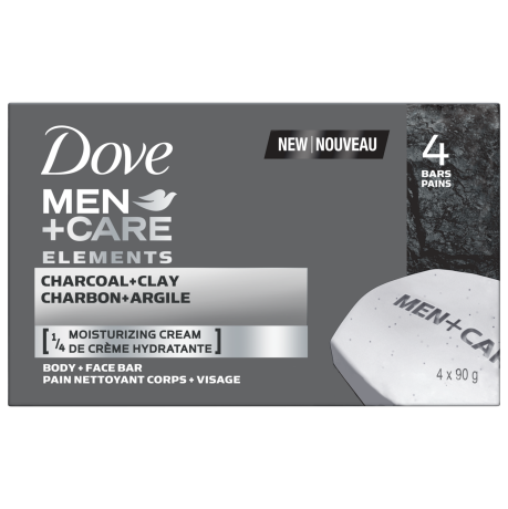 Men+Care Elements Body & Face Bar Charcoal+Clay 90g