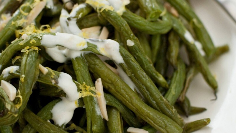 Roasted Green Beans with Lemony Caesar Sauce
