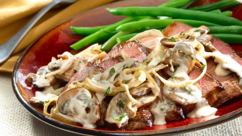 Creamy Balsamic Steak with Onions and Mushrooms