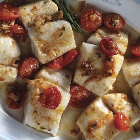 Roasted cod with cherry tomatoes