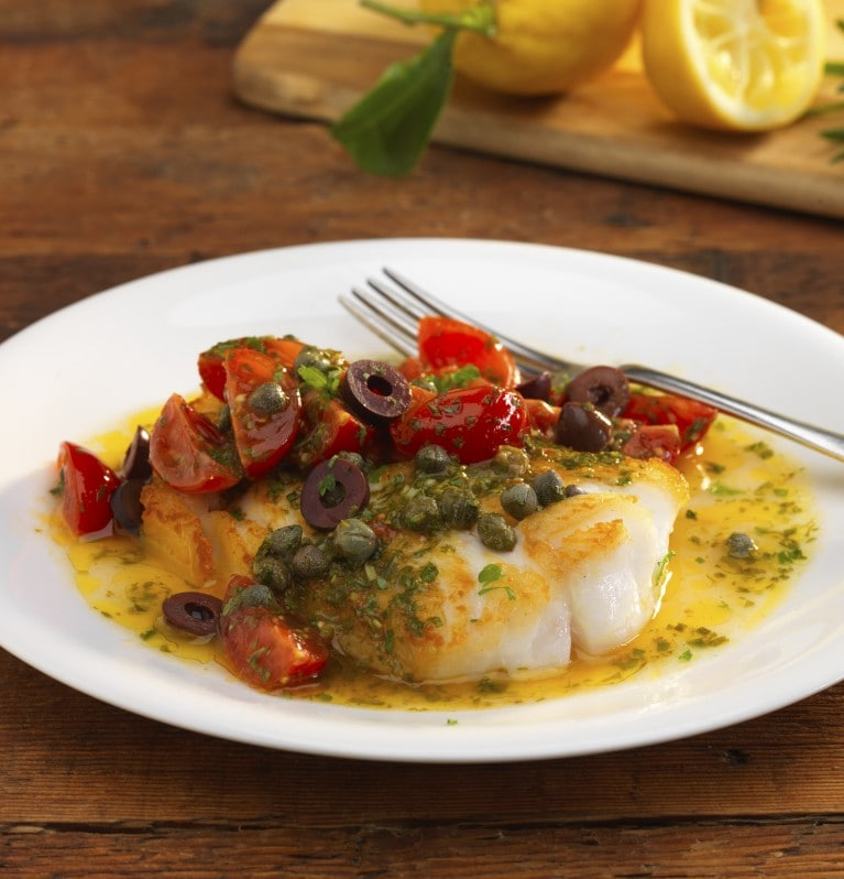 Cod with rosemary and vine tomatoes