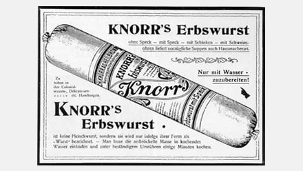 Historical advertisement of Knorr's Erbswurst