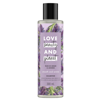 Frente da embalagem do shampoo Love Beauty and Planet óleo de argan & lavanda 300 ml
