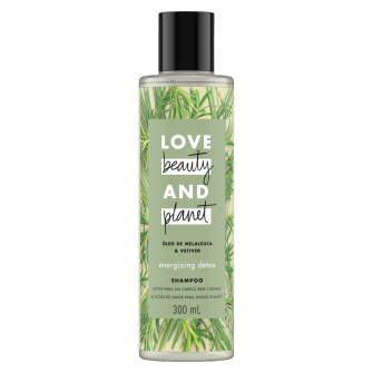 Frente da embalagem do shampoo Love Beauty and Planet óleo de melaleuca & vetiver 300 ml