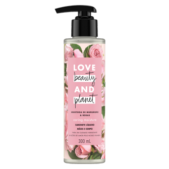Frente da embalagem do desodorante Love Beauty and Planet manteiga de murumuru & rosa 83