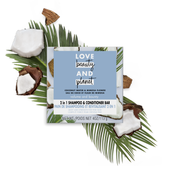 Front of shampoo bar pack Love Beauty Planet 2in1 Coconut Water & Mimosa Flower Shampoo Bar Voluma & Bounty 4oz
