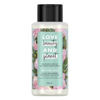 Front of shampoo pack Love Beauty Planet Sulfate Free Indian Lilac & Clove Leaf Shampoo Positively Shiny 400ml