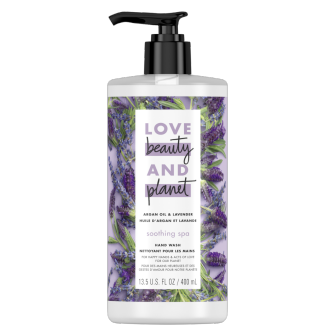 Front of liquid hand wash pack Love Beauty Planet Argan Oil & Lavender Liquid Hand Wash 400ml