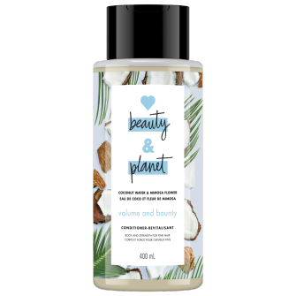 Image de l'emballage du Coconut Water & Mimosa Flower Conditioner de Love Beauty & Planet
