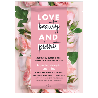 A front of pack image of Love Beauty & Planet Murumuru Butter & Rose Masque Sachet