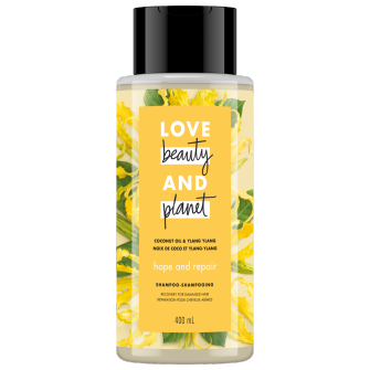 A front of pack image of Love Beauty & Planet Coconut Oil & Ylang Ylang Shampoo
