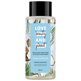 A front of pack image of Love Beauty & Planet Coconut Water & Mimosa Flower Shampoo
