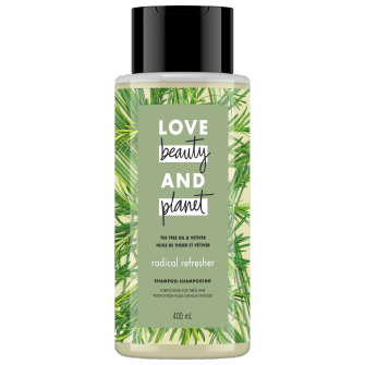 A front of pack image of Love Beauty & Planet Tea Tree Oil & Vetiver Shampoo