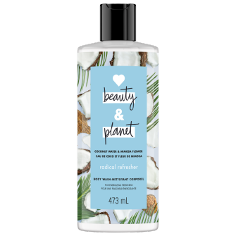 Image de l'emballage du Coconut Water & Mimosa Flower Body Wash de Love Beauty & Planet