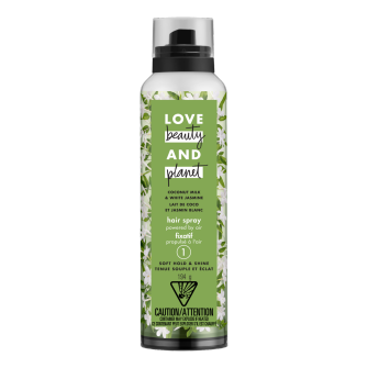Image de l'emballage du Coconut Milk & White Jasmine Soft Hold & Shine Hair Spray de Love Beauty & Planet