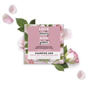 Front of shampoo bar pack Love Beauty Planet Murumuru Butter & Rose Shampoo Bar Blooming Color 4oz
