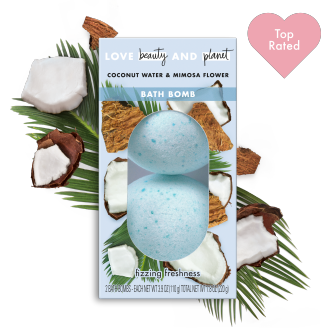 Front of bath bomb pack Love Beauty Planet Coconut Water & Mimosa Flower Bath Bomb 2ct with Top Rated Icon