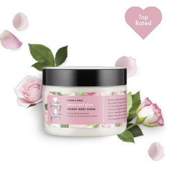 Front of body scrub pack Love Beauty Planet Sugar & Rose Creamy Body Scrub Peace and Glow 9.17oz with Top Rated icon