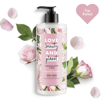 Front of body wash pack Love Beauty Planet Murumuru Butter & Rose Body Wash Bountiful Moisutre 16oz with Top Icon icon