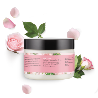 Back of body butter pack Love Beauty Planet Murumuru Butter & Rose Body Butter Delicious Glow 9.17oz