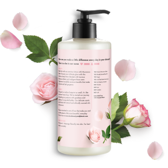 Back of body lotion pack Love Beauty Planet Murumuru Butter & Rose Body Lotion Delicious Glow 13.5oz