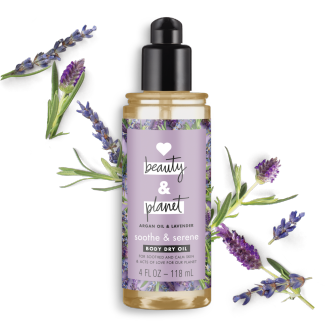 Front of body dry oil pack Love Beauty Planet Argan Oil & Lavender Body Dry OIl Argan Oil & Lavender Soothe & Serene 4oz