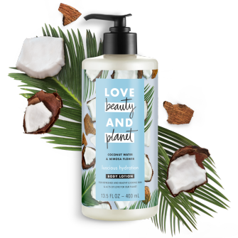 Front of body lotion pack Love Beauty Planet Coconut Water & Mimosa Body Lotion Luscious Hydration 13.5oz