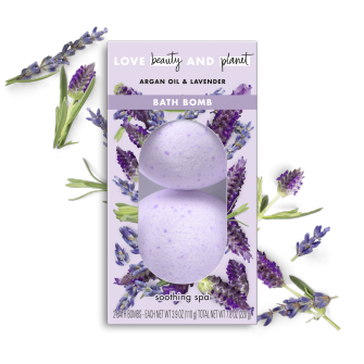 Front of bath bomb pack Love Beauty Planet Argan Oil & Lavender Bath Bomb 2ct