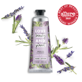 Front of hand cream pack Love Beauty Planet Argan Oil & Lavender Hand Cream 1oz