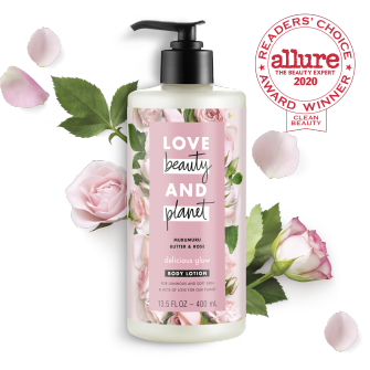 Front of body lotion pack Love Beauty Planet Murumuru Butter & Rose Body Lotion Delicious Glow 13.5oz