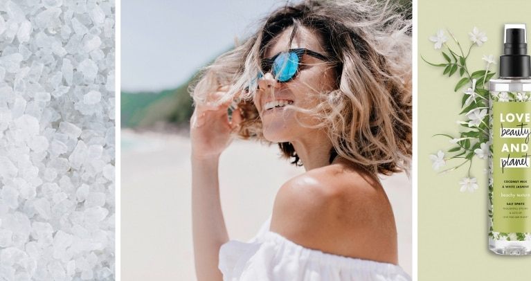 How To Use Sea Salt Spray: Header Images Of Salt, Woman With Textured Hair, Love Beauty And Planet Sea Salt Spray