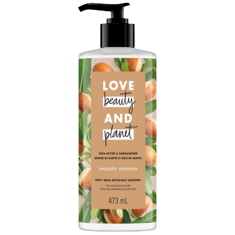 Image de l'emballage de Shea Butter & Sandalwood Body Wash de Love Beauty & Planet
