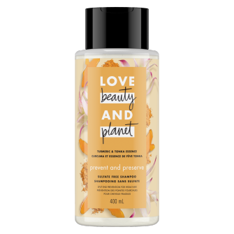 Image de l'emballage du Sulfate-Free Tumeric & Tonka Essence Shampoo de Love Beauty & Planet