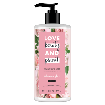 Front of body lotion pack Love Beauty Planet Murumuru Butter & Rose Body Lotion Delicious Glow 400ml. Back of body lotion pack Love Beauty Planet Murumuru Butter & Rose Body Lotion Delicious Glow 400ml