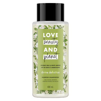 Front of shampoo pack Love Beauty Planet Coconut Milk & White Jasmine Shampoo Divine Definition 400ml