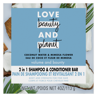 Front of shampoo bar pack Love Beauty Planet 2in1 Coconut Water & Mimosa Flower Shampoo Bar Voluma & Bounty 113g